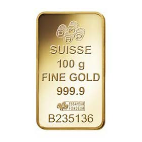 Suisse minted fortuna gold bar