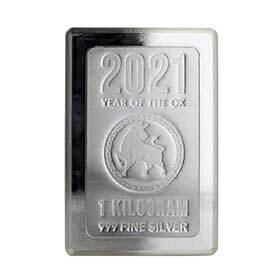 1kg Heraeus KILO Stacker Silver Bar 2021 Year of the Ox