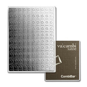 100g silver combibars with Valcambi Swiss logo on each individual bar