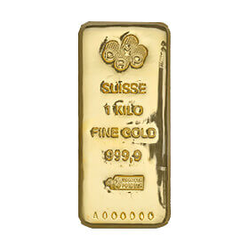 1kg gold cast bar with PAMP Suisse brand marking