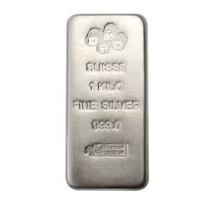 1kg silver cast bar with PAMP Suisse brand marking