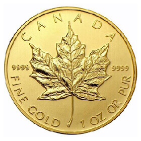 1oz gold coin of 9999 purity featuring Canadian maple leaf embellishment