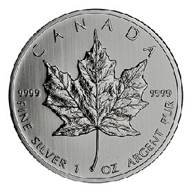 1oz silver coin of 9999 purity featuring Canadian maple leaf embellishment