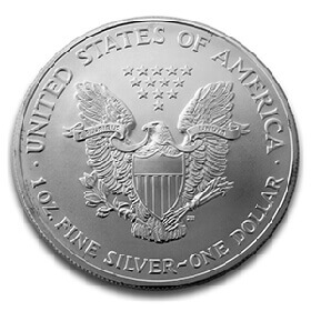 1oz silver coin featuring shielded American eagle holding arrows and leaf branch
