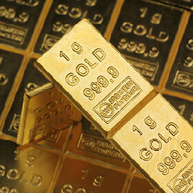 50g 999.9 purity gold detached combibars presented on top of attached combibars